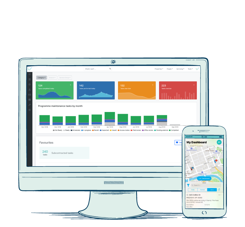 Animated monitor and mobile phone with map and graphs