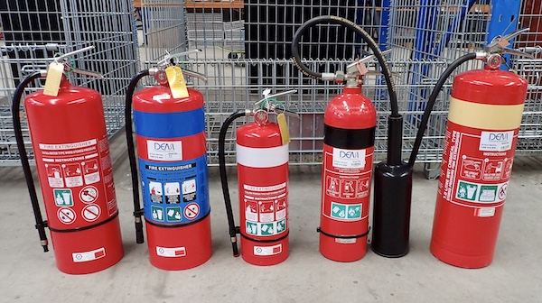 Fire extinguishers of different colour