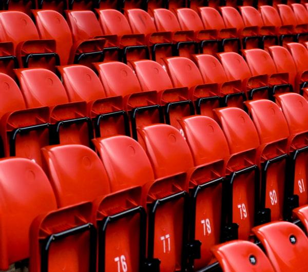 Bright red stadium seats