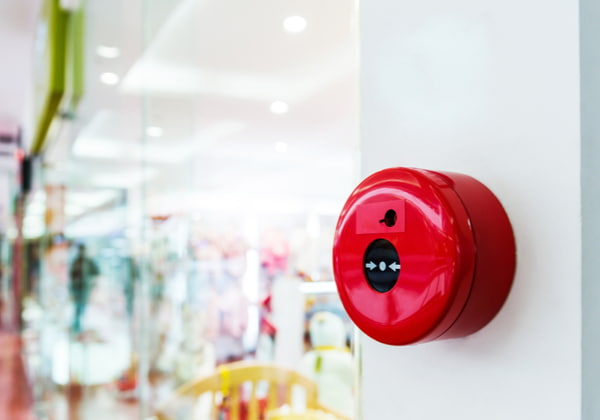 Fire alarm on the wall of shopping mall