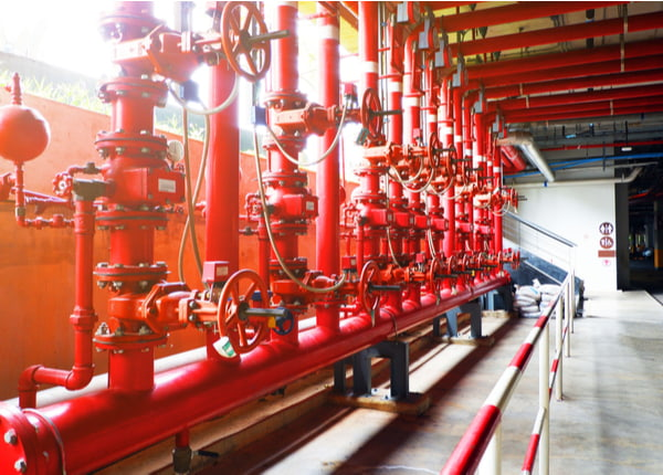 System of water pipes and control valves