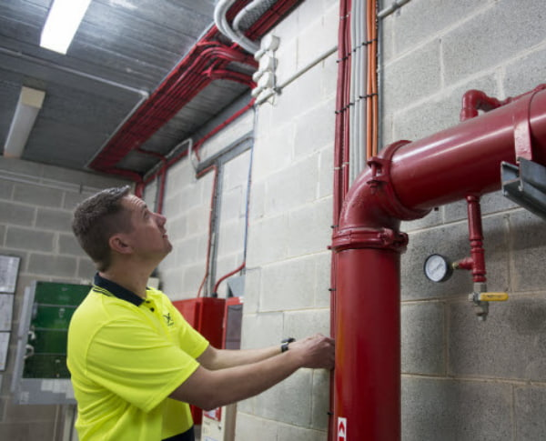 Man checking the pipes