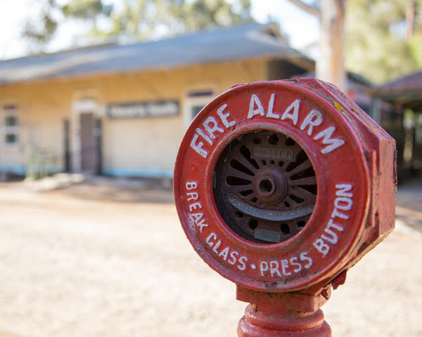 Old fire alarm in a town